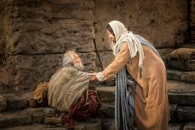Cura do Paralitico do tanque de betesda - Imagem ilustrativa do paralítico e Jesus o levantando