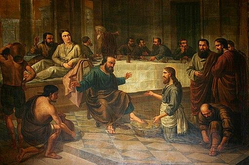 Painting of the Foot Washing   Santa Maria del Mar   Barcelona 2014 crop - Jesus Lavava os Pés dos Discípulos